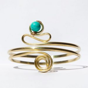 Gold Arm Cuff, Upper Arm Bracelet, Golden Armlet, Turquoise, Natural Stone, Brass, Armband, Gypsy. Cuff, Boho, Tibetan Turquoise, Sexy, Gift