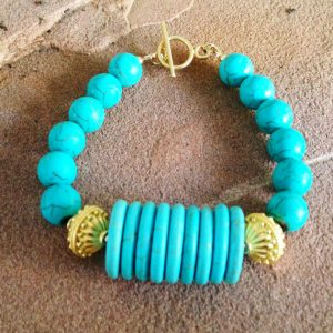 Turquoise Bracelet – Turquoise Jewelry – Gold Jewelry – Gemstone Jewellery – Chunky – Fashion – Unique