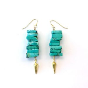 Turquoise Earrings – Spike Jewelry – Gold Vermeil – Hipster – Modern – Point – Arrow – Natural Gemstone Jewellery