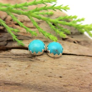 Shop Turquoise Earrings! Turquoise Stud Earrings, Blue Cabochon Earrings from Nacozari Mine, in Gold or Silver, 6mm | Natural genuine Turquoise earrings. Buy crystal jewelry, handmade handcrafted artisan jewelry for women.  Unique handmade gift ideas. #jewelry #beadedearrings #beadedjewelry #gift #shopping #handmadejewelry #fashion #style #product #earrings #affiliate #ad