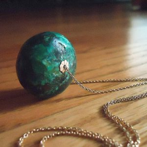 Green Turquoise Necklace – Gold Jewelry – Natural Stone Jewellery – Chain – Fashion