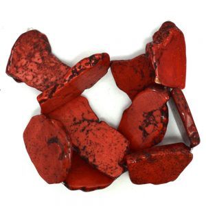 "30-42mm Red Turquoise Freeform Slab Nugget Beads 15.5"" Strand 38927"