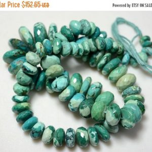 On Sale 40% Natural Turquoise, Tibet Turquoise Beads,faceted Rondelles, 9mm To 21mm Approx, 11.5 Inches, 42 Pieces, Half Strand