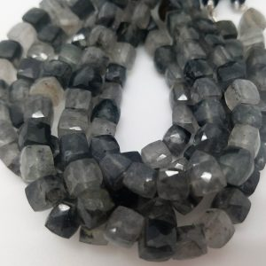 8 Mm , Black Rutile Quartz 3 D Cubes