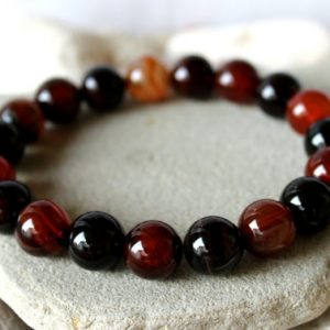 Shop Agate Bracelets! 12 mm Agate Bracelet, Men's Agate Bracelet, Women Agate Bracelet, Brown Agate Bracelet, Agate Stretch Bracelet, Agate Wrist Mala, Agate Men | Natural genuine Agate bracelets. Buy crystal jewelry, handmade handcrafted artisan jewelry for women.  Unique handmade gift ideas. #jewelry #beadedbracelets #beadedjewelry #gift #shopping #handmadejewelry #fashion #style #product #bracelets #affiliate #ad