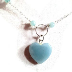 Amazonite Necklace – Blue Jewelry – Heart Jewellery – Gemstone – Sterling Silver Jewelry – Pendant – Fashion – Chain