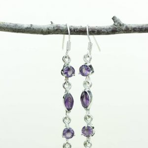 Amethyst 925 Solid (nickel Free) Sterling Silver Italian Made Dangle Earrings E593