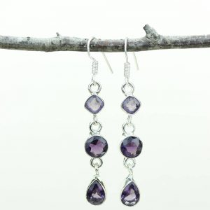 Amethyst 925 Solid (nickel Free) Sterling Silver Italian Made Dangle Earrings E589
