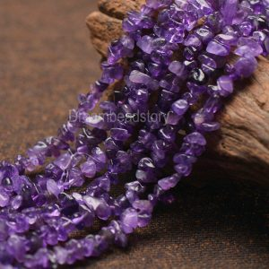 Beautiful Natural Purple Amethyst February Bristhstone Chips Beads For Jewelry Making