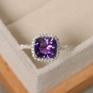 Amethyst ring, engagement ring, sterling silver, gemstone ring amethyst, purple amethyst ring | Natural genuine Amethyst rings, simple unique alternative gemstone engagement rings. #rings #jewelry #bridal #wedding #jewelryaccessories #engagementrings #weddingideas #affiliate #ad