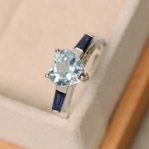 Aquamarine ring, heart cut ring, engagement ring | Natural genuine Array rings, simple unique alternative gemstone engagement rings. #rings #jewelry #bridal #wedding #jewelryaccessories #engagementrings #weddingideas #affiliate #ad