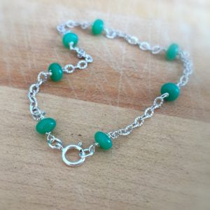Shop Chrysoprase Bracelets! Chrysoprase Bracelet – Green Bracelet – Chrysoprase and Sterling Silver Bracelet – Gemstone Jewelry – Chain Jewellery | Natural genuine gemstone jewelry in modern, chic, boho, elegant styles. Buy crystal handmade handcrafted artisan art jewelry & accessories. #jewelry #beaded #beadedjewelry #product #gifts #shopping #style #fashion #product