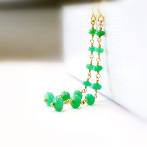 Chrysoprase Earrings – Green Gemstone Jewellery – Gold Filled – Fine Jewelry – St Patricks Day – Long – Dangle