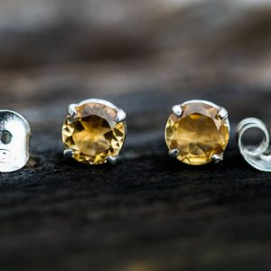 Citrine 8mm Stud Earrings – Citrine And Sterling Silver 8mm Stud Earrings – 8mm Stud Earrings – Sterling Silver Stud Earrings – Citrine Stud