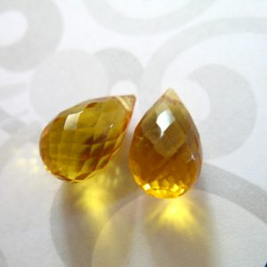 Yellow QUARTZ Briolettes Teardrops Drops, Matched Pair, 12-13.5 mm, Yellow Citrine, November Birthstone giant hydqtz75 bsc solo | Natural genuine other-shape Citrine beads for beading and jewelry making.  #jewelry #beads #beadedjewelry #diyjewelry #jewelrymaking #beadstore #beading #affiliate #ad