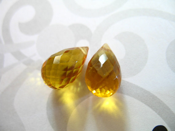 Yellow Quartz Briolettes Teardrops Drops, Matched Pair, 12-13.5 Mm, Yellow Citrine, November Birthstone Giant Hydqtz75 Bsc Solo