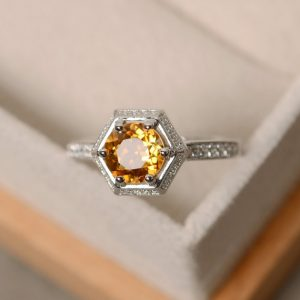Citrine Ring, Engagement Ring, Yellow Gemstone, Natural Quartz Ring