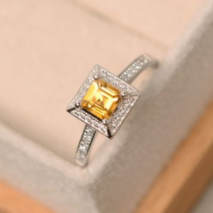 Citrine Ring, Square Cut Ring, Natural Citrine, Yellow Quartz Ring