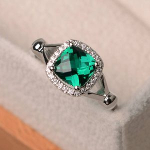 Emerald Engagement Ring, Cushion Cut Emerald, Promise Ring, Sterling Silver, Emerald