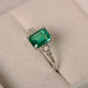 Emerald Ring, Solitaire Ring, Green Gemstone Emerald, Promise Ring, Sterling Silver, May Birthstone Ring, Infinite Ring