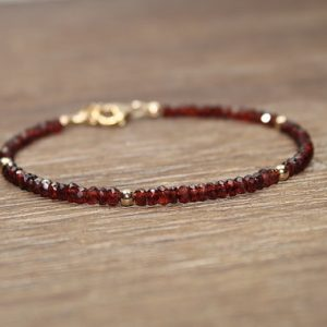 Garnet Bracelet, Garnet Jewelry, January Birthstone, Gold Filled Or Sterling Silver Beads