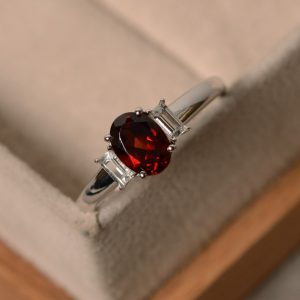 Garnet Engagement Ring, Multistone, January Birthstone, Silver Rings Gemstone, Red Gemstone