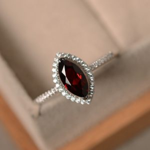 Marquise cut engagement ring, red garnet, sterling silver, January birthstone gemstone