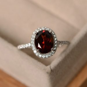 Garnet Rings, Halo Rings, Sterling Silver, January Birthstone Ring, Oval Cut Garnet