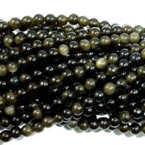 Golden Obsidian Beads, Round, 4mm (4.5 Mm), 15.5 Inch, Full Strand, Approx 98 Beads, Hole 0.8 Mm, A Quality (239054005)