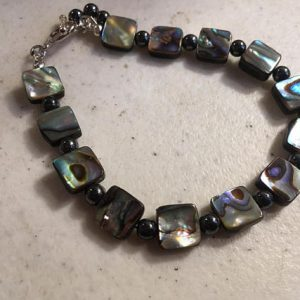 Hematite Bracelet – Abalone Gemstone Jewelry – Sterling Silver Jewellery – Gray – Beaded