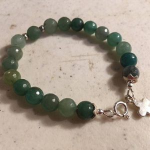 Jade Bracelet – Green Gemstone Jewellery – Sterling Silver Jewelry – Beaded – Charm
