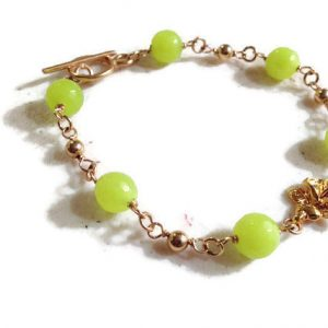 Green Bracelet – Gold Jewelry – Neon Green Jade Gemstone Jewellery – Flower Connector – Fashion