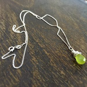 Green Necklace – Jade Gemstone Jewellery – Sterling Silver Jewelry – Chain – Pendant