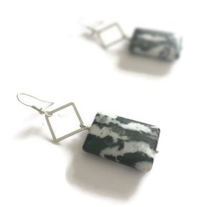 Black And White Earrings -sterling Silver Jewelry – Zebra Jasper Gemstone Jewellery – Chunky – Fashion
