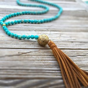 Blue Necklace – Tassel Jewelry – Emperor Jasper Gemstone Jewellery – Brass – Fashion – Long