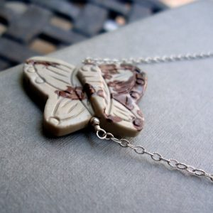 Butterfly Necklace – Butterfly Jewelry – Sterling Silver Jewelry – Gray Maroon Jasper – Gemstone Jewellery – Chain Pendant Unique N-41