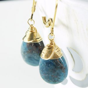 Shop Kyanite Earrings! Blue Kyanite Earrings, Gold-filled Wire Wrap, Blue Gemstone Earrings, Natural Stone, Dangle Earrings, Holiday Gift Idea For Her, 2499, 4401 | Natural genuine Kyanite earrings. Buy crystal jewelry, handmade handcrafted artisan jewelry for women.  Unique handmade gift ideas. #jewelry #beadedearrings #beadedjewelry #gift #shopping #handmadejewelry #fashion #style #product #earrings #affiliate #ad
