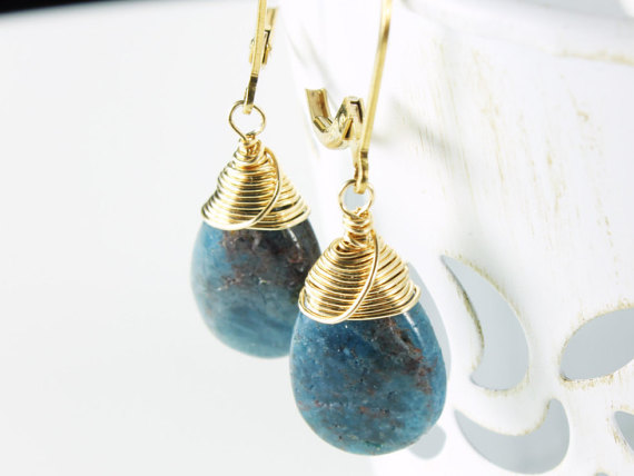 Blue Kyanite Gold Filled Earrings Wire Wrapped Natural Blue Gemstone Minimalist Simple Dangle Drops Gift For Her Mom Sister Wife Aunt 2499