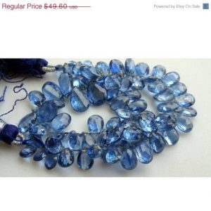 Kyanite – Kyanite Faceted Pear Shaped Drop Beads – 9x6mm To 14x7mm – 28 Pieces Approx | Natural genuine faceted Kyanite beads for beading and jewelry making.  #jewelry #beads #beadedjewelry #diyjewelry #jewelrymaking #beadstore #beading #affiliate #ad