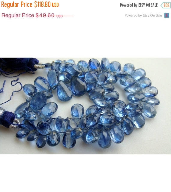 Kyanite - Kyanite Faceted Pear Shaped Drop Beads - 9x6mm To 14x7mm - 28 Pieces Approx