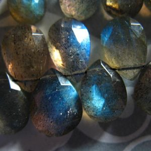 Huge LABRADORITE Pear Briolettes, 13-14 mm, Luxe AAA, Gray Grey Silver, Huge Focal, faceted…blue flashes brides bridal 13up | Shop beautiful natural gemstone beads in various shapes & sizes. Buy crystal beads raw cut or polished for making handmade homemade handcrafted jewelry. #jewelry #beads #beadedjewelry #product #diy #diyjewelry #shopping #craft
