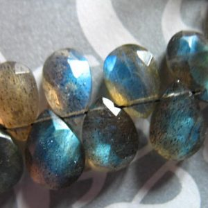 Shop Labradorite Faceted Beads! Shop Sale – LABRADORITE  Briolettes Pear Beads, Luxe AAA, 6 pcs, 9-11 mm, Faceted, wholesale beads, blue flashes brides bridal 911 | Natural genuine faceted Labradorite beads for beading and jewelry making.  #jewelry #beads #beadedjewelry #diyjewelry #jewelrymaking #beadstore #beading #affiliate #ad