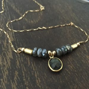Shop Labradorite Necklaces! Labradorite Necklace – Gray Gemstone Jewelry – Gold Chain Jewellery – Everyday Jewelry | Natural genuine Labradorite necklaces. Buy crystal jewelry, handmade handcrafted artisan jewelry for women.  Unique handmade gift ideas. #jewelry #beadednecklaces #beadedjewelry #gift #shopping #handmadejewelry #fashion #style #product #necklaces #affiliate #ad