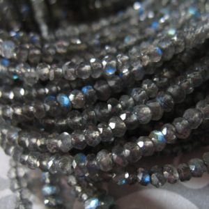 LABRADORITE Rondelles Beads, Luxe AAAA, 3 mm, 1/2 Strand, Silver Gray Grey, tons blue flashes neutral top solo