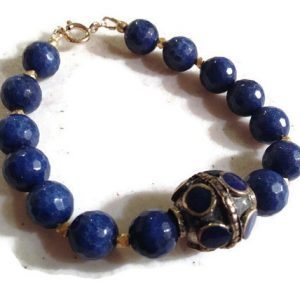 Blue Bracelet – Gold Jewelry – Lapis Gemstone Jewellery – Brass – Fashion – Beaded
