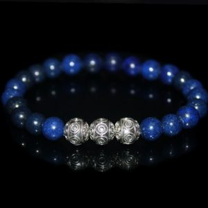 Men's Bracelet, For Men, Bracelet For Men, Lapis Lazuli And Sterling Silver Bracelet, Mens Bracelet Mans Bracelet, Bracelet For Man, For Man