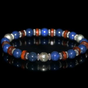 Men's Bracelet, Bracelet For Men, Lapis Lazuli Sterling Silver Bracelet, Gift For Man, Men, Bracelet, Beaded Bracelet, Man's Bracelet
