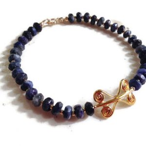 Lapis Bracelet – Navy Blue Jewelry – Lapis Lazuli Gemstone Jewellery – Gold – Beaded – Fashion