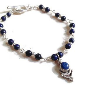Lapis Bracelet – Navy Blue Bracelet – Sterling Silver Jewelry – Navy Blue Gemstone Jewellery – Fashion – Charm