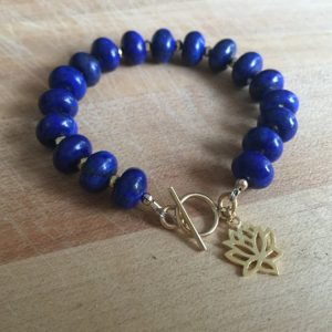 Lapis Bracelet – Navy Blue Gemstone Jewellery -lapis Lazuli Jewelry – Gold Pyrite – Lotus Flower Charm